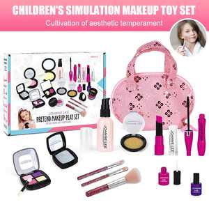 Amerteer Kids Makeup Kit for Girls Toddlers Pretend Makeup Set for Kids Pretend Play Makeup Cosmetic Toy Birthday Christmas Gift for Girls Fake Makeup Toy with Carrying Bag