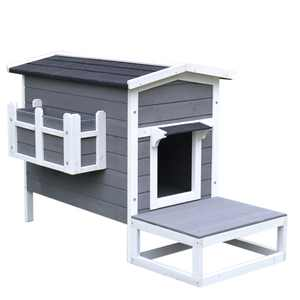 Pawhut Wooden Large Cat House Elevated Indoor Outdoor with Porch and Balcony