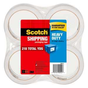 Scotch Heavy Duty Shipping Packaging Tape, Clear, 1.88 in. x 54.6 yd., 4 Rolls