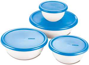 Sterilite 8-Piece Plastic Kitchen Covered Bowl/Mixing Set with Lids