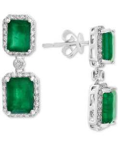 EFFY Emerald (4-3/4 ct. t.w.) & Diamond (3/8 ct. t.w.) Drop Earrings in 14k White Gold or Yellow Gold