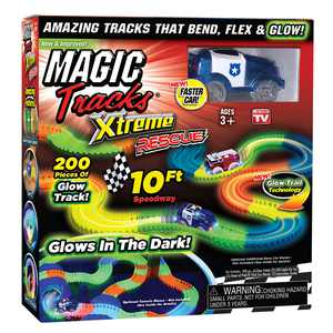 Magic Tracks Xtreme Rescue 10ft Racetrack with Blue Police Car, As Seen on TV
