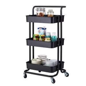 Ubesgoo 3 Tier Storage Basket Organizer, ABS Utility Rolling Cart Black