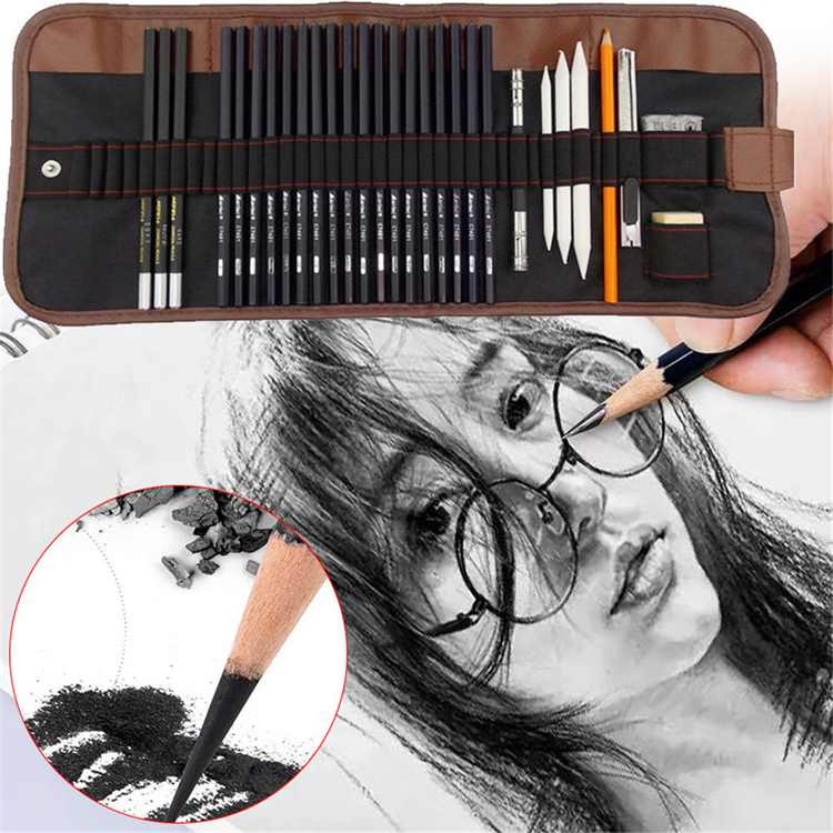 29 Pieces Professional Sketching & Drawing Art Tool Kit With Graphite Pencils, Charcoal Pencils, Paper Erasable Pen, Craft Knife