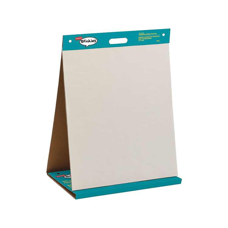 """Staples Stickies Tabletop Easel Pad 20"""" x 23"""" White 20 Sheets/Pad (23448) 958102"""