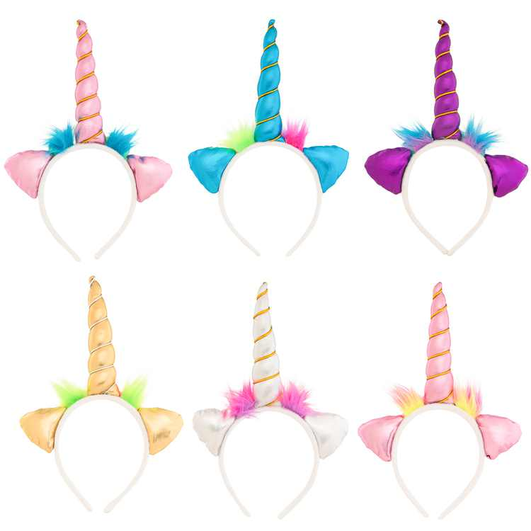(6 Pack) Assorted Color Soft Unicorn Headband Set For Unicorn Costume For Girls, Boys, Adults, Birthday, Unicorn Party Supplies, Unicorn Party Favors, Unicorn Gifts