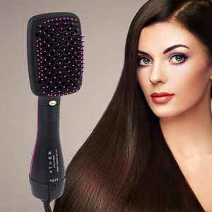 Hair Dryer Brush, One-Step Hair Dryer and Brush Styler, 2021 Upgraded Anion Hot Air Brush for Fast Drying Straightening, Electric Blow Dryer for All Hair Types, 3 Temp Levels - Black & Pink, B1547