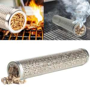12inch Round Smoker Tube Wood Pellet BBQ Grill Hot Cold Smoking Mesh Tube Smoke Generator Stainless Steel BBQ Accessories Smoker Grill