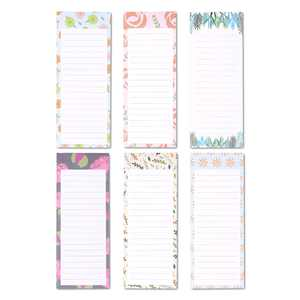"""6-Pack Magnetic Note Pads, Grocery & Shopping Notepad, To-do List for Fridge, Floral Design (60 Sheets per Pad) 3.5"""" x 9"""""""