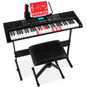 Best Choice Products 61-Key Beginners Complete Electronic Keyboard Piano Set with LCD Screen, Lighted Keys and Headphones