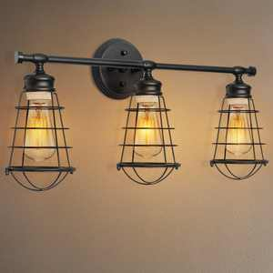 3-Light Bathroom Vanity Light, Industrial Wire Cage Wall Sconces Fixture Indoor Wall Mount Lamp for Bathroom, Dressing Table, Mirror Cabinets, Vanity Table - Black