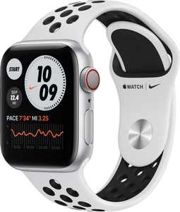 Apple Watch Nike Series 6 (GPS + Cellular) 40mm Silver Aluminum Case with Pure Platinum/Black Nike Sport Band - Silver