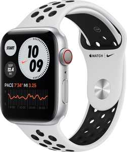 Apple Watch Nike Series 6 (GPS + Cellular) 44mm Silver Aluminum Case with Pure Platinum/Black Nike Sport Band - Silver
