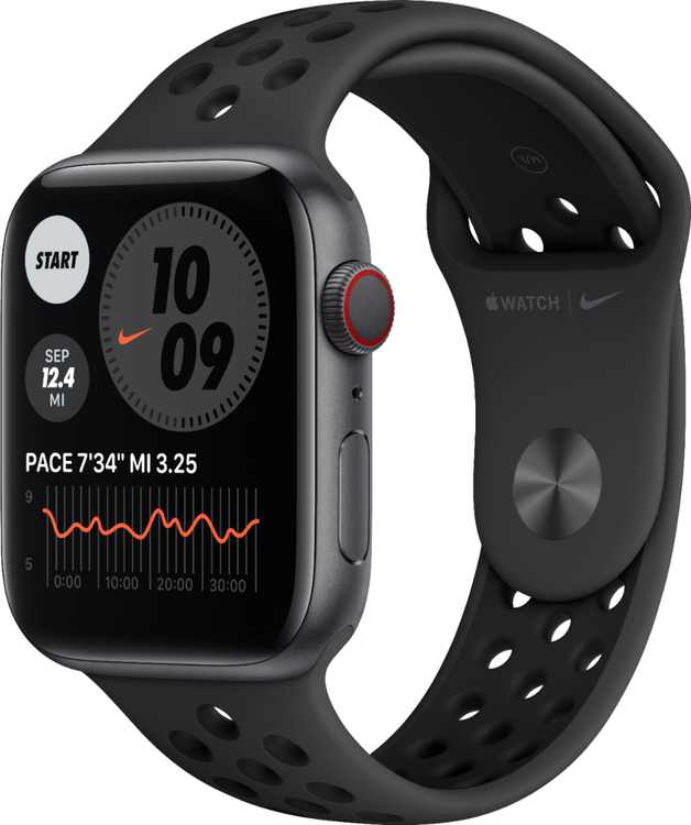 Apple Watch Nike Series 6 (GPS + Cellular) 44mm Space Gray Aluminum Case with Anthracite/Black Nike Sport Band - Space Gray
