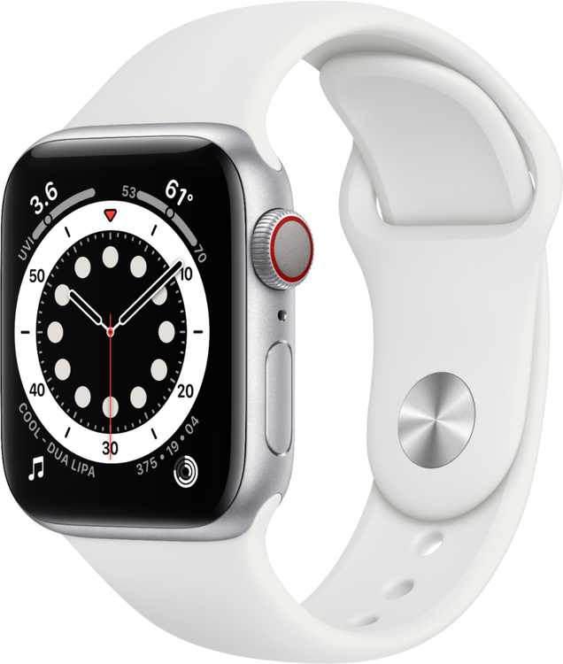 Apple Watch Series 6 (GPS + Cellular) 40mm Silver Aluminum Case with White Sport Band - Silver