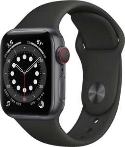 Apple Watch Series 6 (GPS + Cellular) 40mm Space Gray Aluminum Case with Black Sport Band - Space Gray