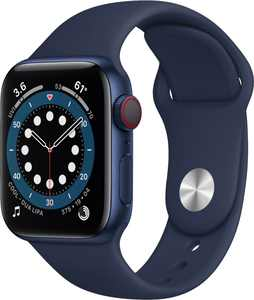 Apple Watch Series 6 (GPS + Cellular) 40mm Blue Aluminum Case with Deep Navy Sport Band - Blue