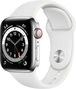 Apple Watch Series 6 (GPS + Cellular) 40mm Silver Stainless Steel Case with White Sport Band - Silver