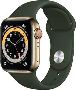 Apple Watch Series 6 (GPS + Cellular) 40mm Gold Stainless Steel Case with Cyprus Green Sport Band - Gold