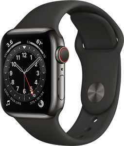 Apple Watch Series 6 (GPS + Cellular) 40mm Graphite Stainless Steel Case with Black Sport Band - Silver