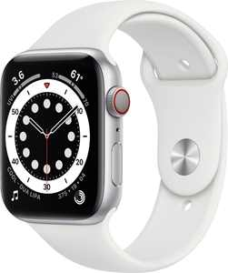 Apple Watch Series 6 (GPS + Cellular) 44mm Silver Aluminum Case with White Sport Band - Silver