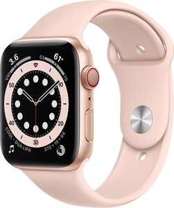 Apple Watch Series 6 (GPS + Cellular) 44mm Gold Aluminum Case with Pink Sand Sport Band - Gold