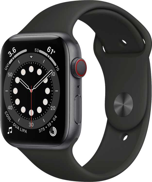 Apple Watch Series 6 (GPS + Cellular) 44mm Space Gray Aluminum Case with Black Sport Band - Space Gray