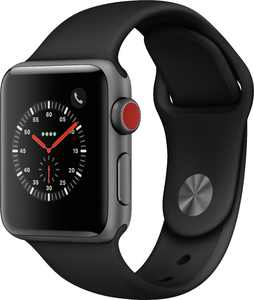 Apple Watch Series 3 (GPS + Cellular) 38mm Space Gray Aluminum Case with Black Sport Band - Space Gray Aluminum