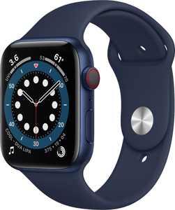 Apple Watch Series 6 (GPS + Cellular) 44mm Blue Aluminum Case with Deep Navy Sport Band - Blue