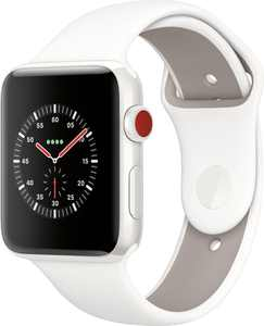 Geek Squad Certified Refurbished Apple Watch Edition (GPS + Cellular) 42mm with Soft White/Pebble Sport Band - White Ceramic