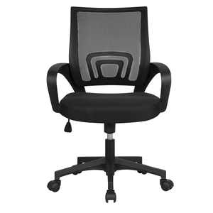 Smilemart Adjustable Mid Back Mesh Swivel Office Chair with Armrests, Black