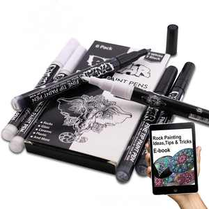 Pintar Art Supply 3 Black & 3 White Combo 0.7 MM Fine Tip Acrylic Paint Pens