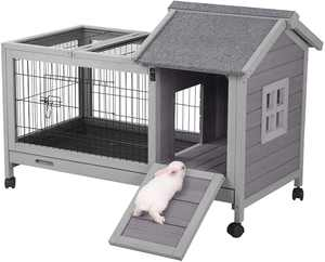 Aivituvin Rabbit Hutch Bunny Cage Guinea Pig House with Wheels
