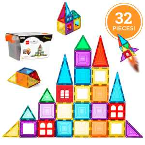 Best Choice Products 32-Piece Colorful Kids Mini Magnetic Tiles Educational STEM Toy Set with Carrying Case, Rounded Edges