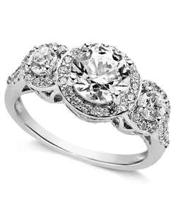Sterling Silver Ring, Cubic Zirconia Three Stone Ring (3-1/3 ct. t.w.)