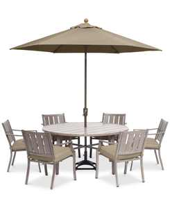 """Wayland Outdoor Aluminum 7-Pc. Dining Set (60"""" Round Dining Table & 6 Dining Chairs) with Sunbrella Cushions, Created for Macy's"""