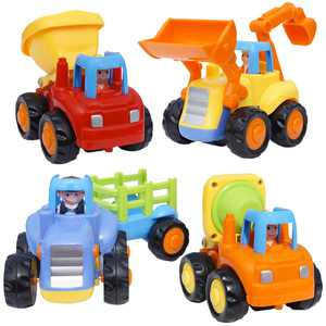 CifToys Friction Powered Push and Go Construction Truck Vehicle Playset (4 Pieces)