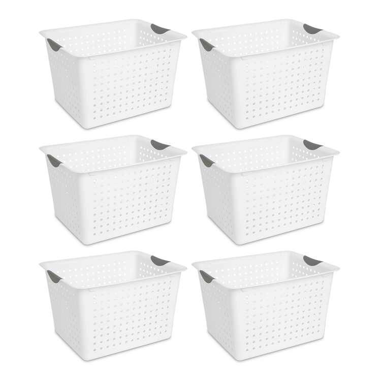 Sterilite Deep Ultra Plastic Kitchen Laundry Storage Organizer Baskets (6 Pack)