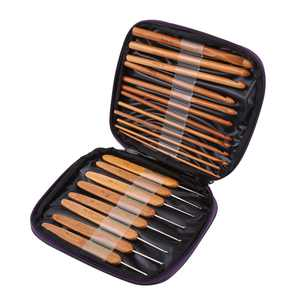 20Pcs Bamboo Crochet Hooks Needles Knit Weave Craft Yarn Sewing Knitting Tools with Case