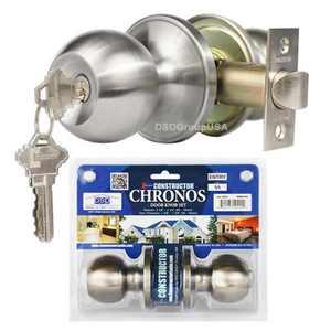 Constructor Chronos Entry Door Knob Handle Lock Set Stainless Steel Finish