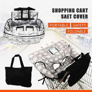Baby Kids Shopping Cart Cover Cushion, 2-in-1 High Chair Cover Machine Washable Folds Into Compact Carry Bag for Boy or Girl