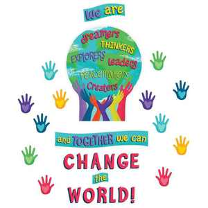 Carson Dellosa CD-110488 Together We Can Change World Bulletin Board Set One World