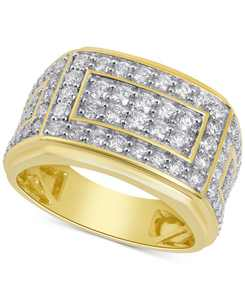Men's Diamond Cluster Ring (2 ct. t.w.) in 10k Yellow Gold and 10k White Gold