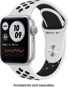 Apple Watch Nike Series 6 (GPS) 40mm Silver Aluminum Case with Pure Platinum/Black Nike Sport Band - Silver