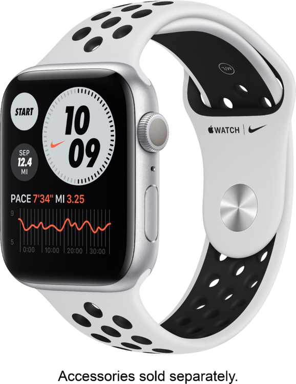 Apple Watch Nike Series 6 (GPS) 44mm Silver Aluminum Case with Pure Platinum/Black Nike Sport Band - Silver