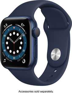 Apple Watch Series 6 (GPS) 40mm Blue Aluminum Case with Deep Navy Sport Band - Blue