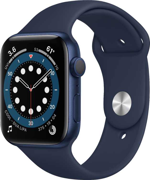 Apple Watch Series 6 (GPS) 44mm Blue Aluminum Case with Deep Navy Sport Band - Blue
