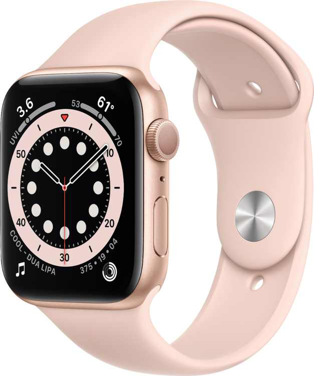 Apple Watch Series 6 (GPS) 44mm Gold Aluminum Case with Pink Sand Sport Band - Gold