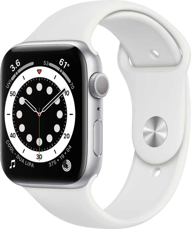 Apple Watch Series 6 (GPS) 44mm Silver Aluminum Case with White Sport Band - Silver
