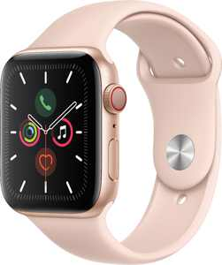 Apple Watch Series 5 (GPS + Cellular) 44mm Gold Aluminum Case with Pink Sand Sport Band - Gold Aluminum